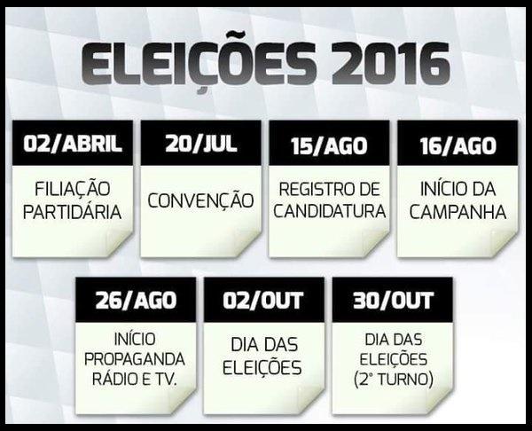 CALENDÁRIO ELEIÇÕES MUNICIPAIS 2016