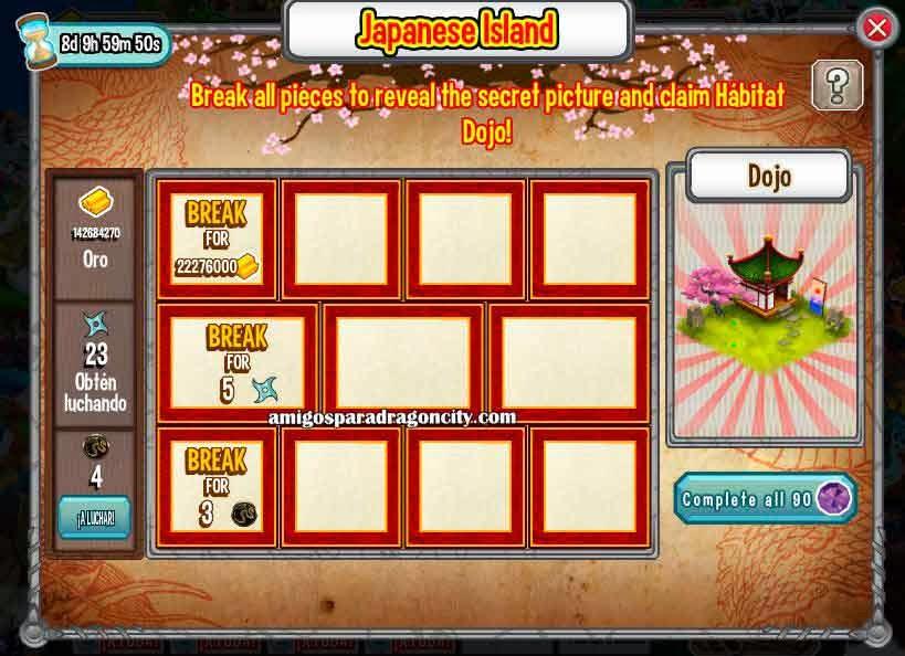 imagen de las tareas de la isla dojo de dragon city de facebook