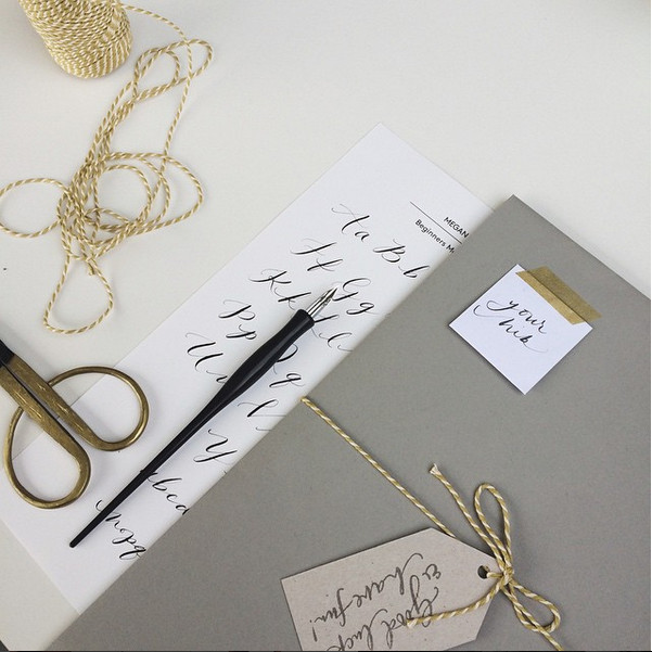 Littlemaldod practicing modern calligraphy with quill london