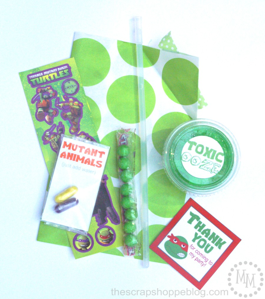 Vintage For the gift bags I included TMNT stickers candy a green glow bracelet a small container of the toxic ooze and ucmutant animals ud using an pack of