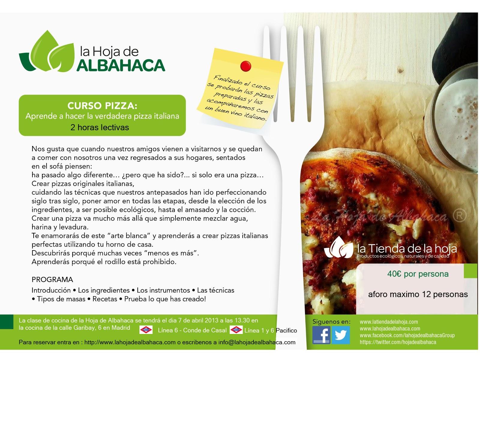 cursos,pizza,taller pizza,comida italiana,cursos cocina Madrid,cursos cocina italiana