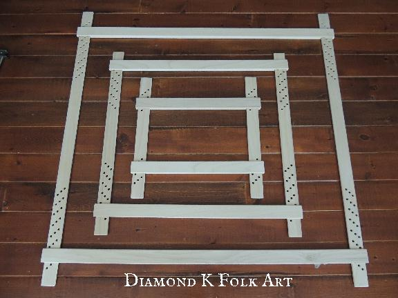 i make my frames in three sizes small 16 medium 24 and a large 36 shown above each frame takes me about a week to make start to finish - Embroidery Frames