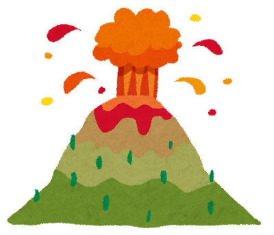 火山噴火のイラスト(自然災害)