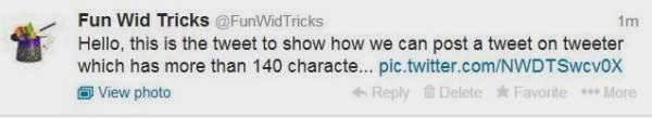 Tweet the post on tweeter having length greater than 140 characters_FunWidTricks.Com