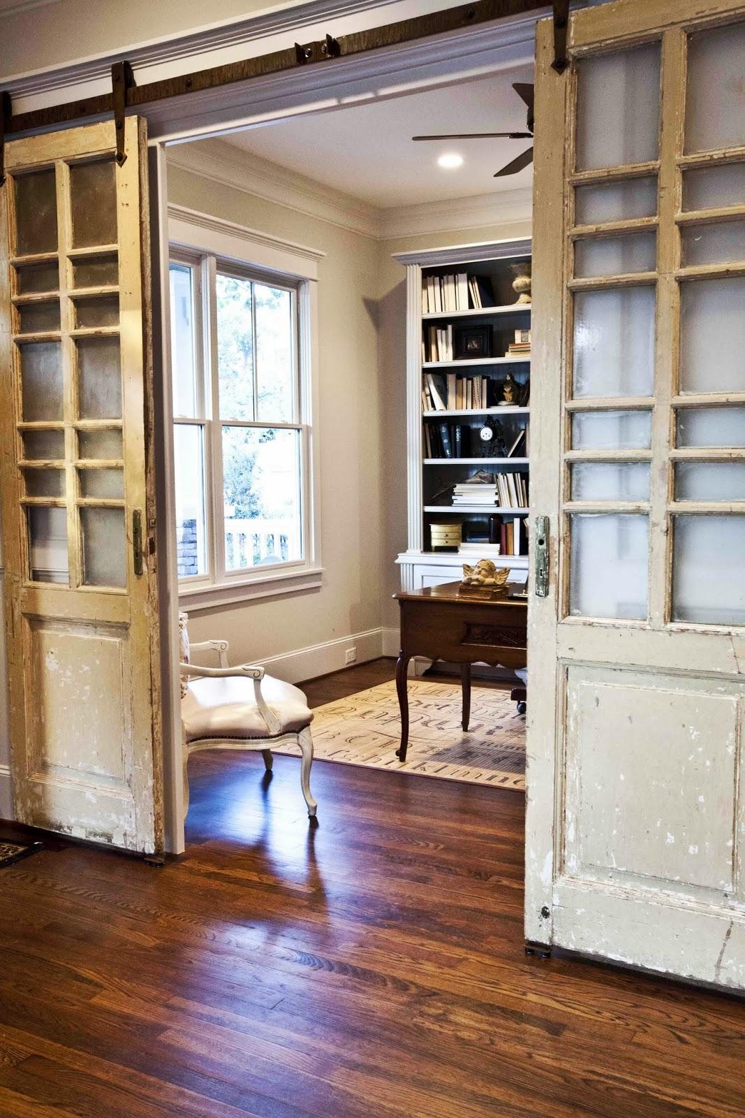My french study part i cedar hill farmhouse for French door barn door