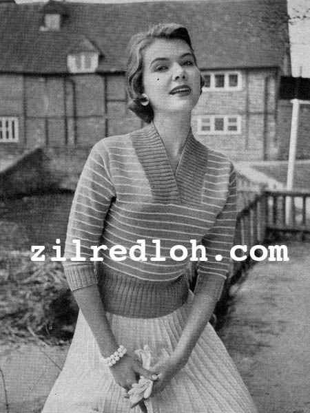 The Vintage Pattern Files: 1950s Knitting - Striped Jumper