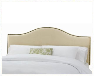 Amazon - Velvet-Upholstered Headboard with Nail-Button Trim