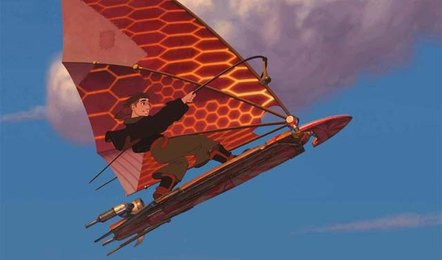 Jim solar sailing Treasure Planet 2002 animatedfilmreviews.filminspector.com