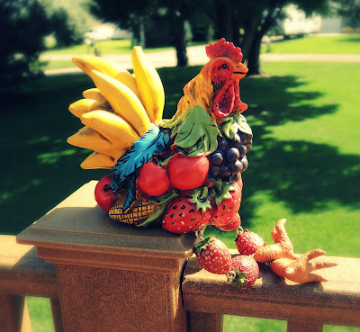 Frooster the fruit rooster.
