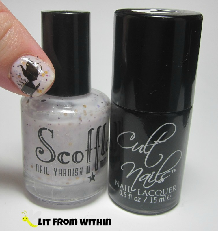Bottle shot:  Scofflaw Nail Varnish Cloud Cuckoo Land, and Cult Nails Nevermore.