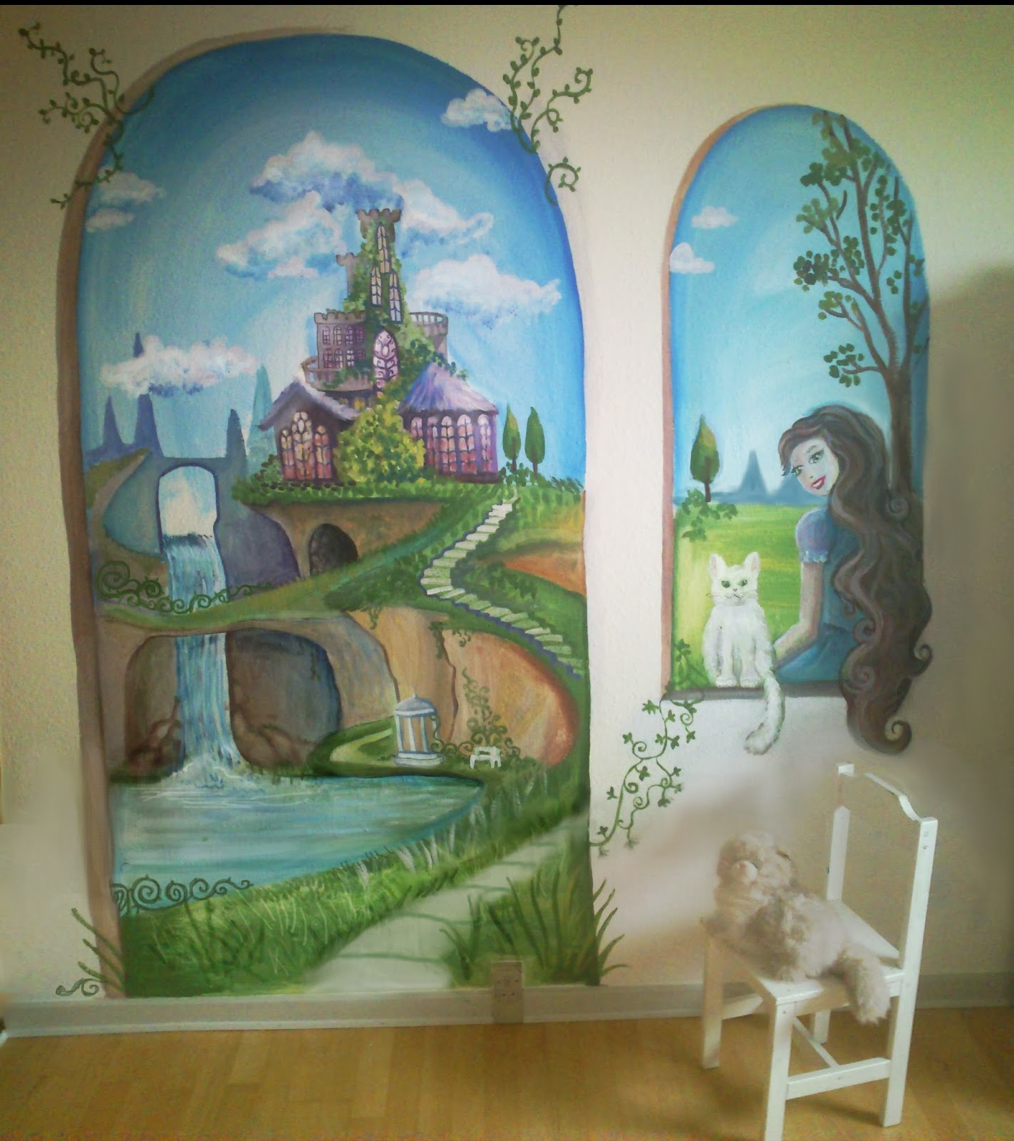 Maggie murals secret garden mural for Fairy garden wall mural