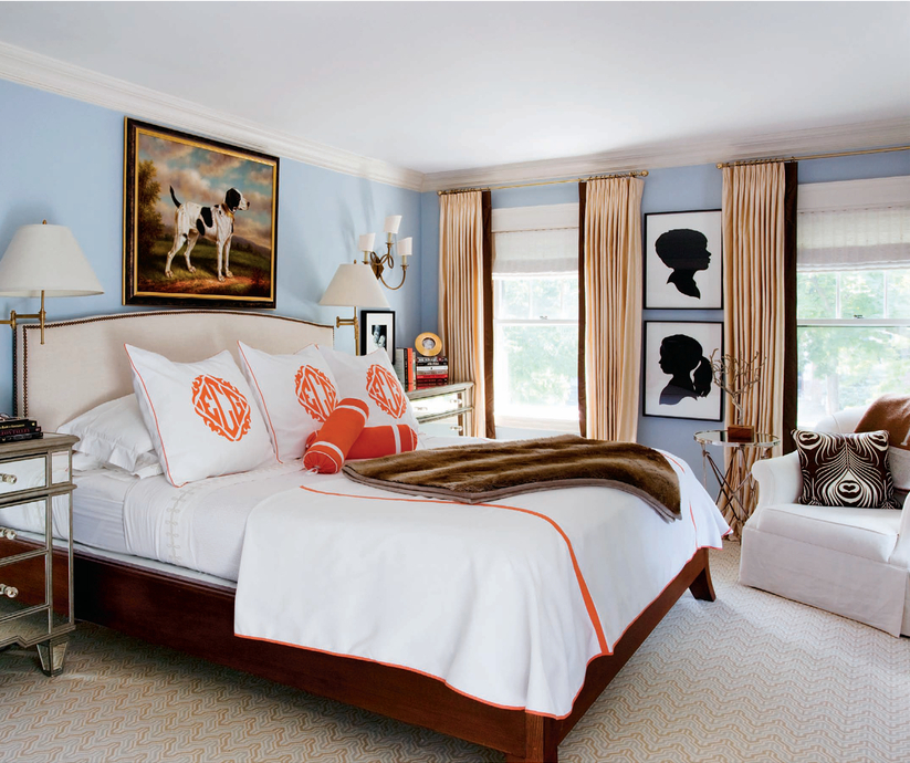 The zhush style stalking liz caan interiors - Orange and light blue bedroom ...