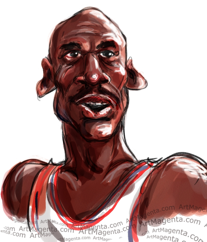 Michael Jordan caricature cartoon. Portrait drawing by caricaturist Artmagenta