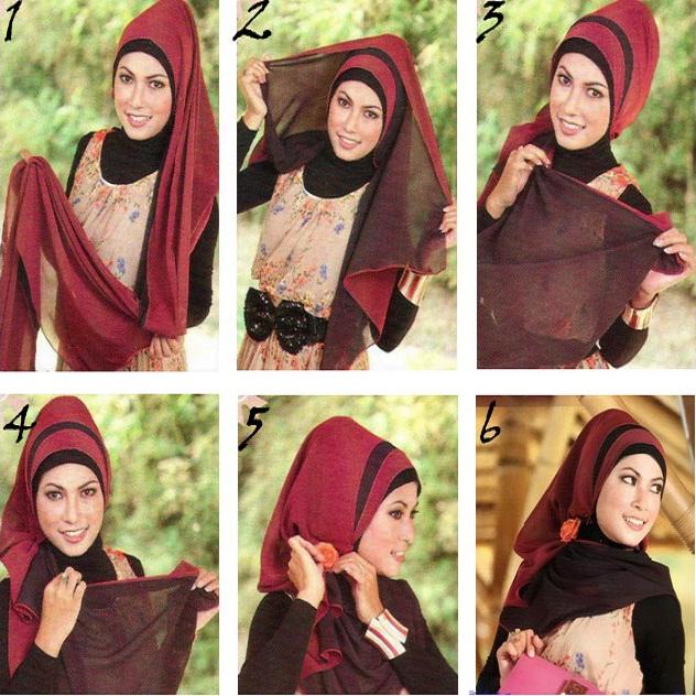 Tutorial dan gambar cara memakai jilbab hijab modern gaul pashmina wave style