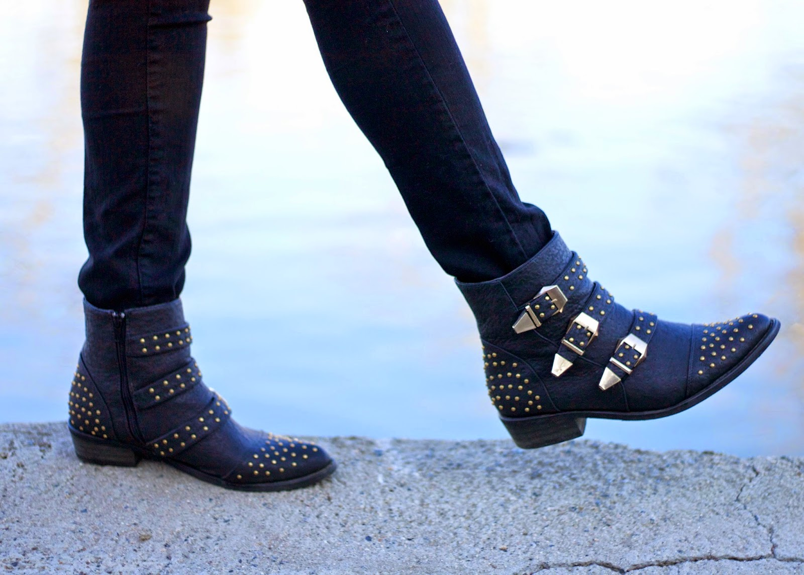 Studded booties, black studded booties, chloe susanna boots lookalikes, chloe susanna booties, justfab booties