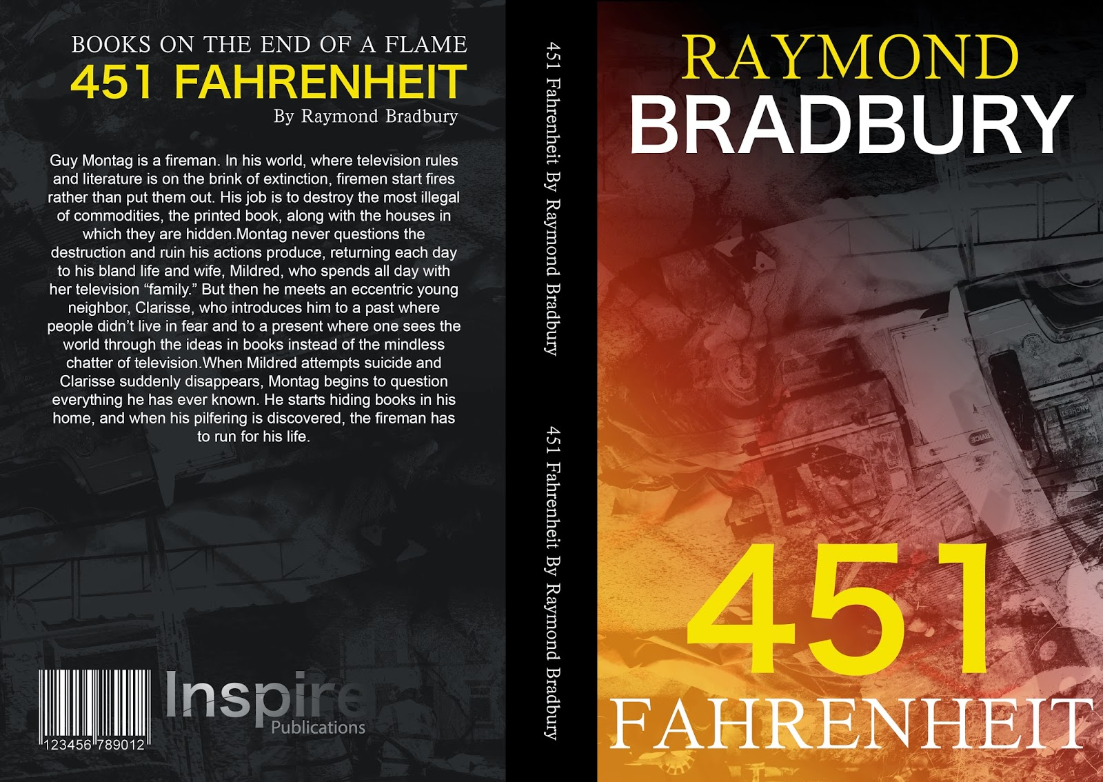 Book Covers Front And Back : University portfolio fmp fahrenheit book cover