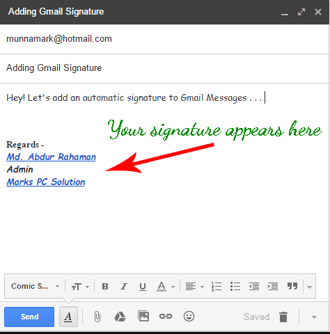 Automatic Signature in Gmail Message