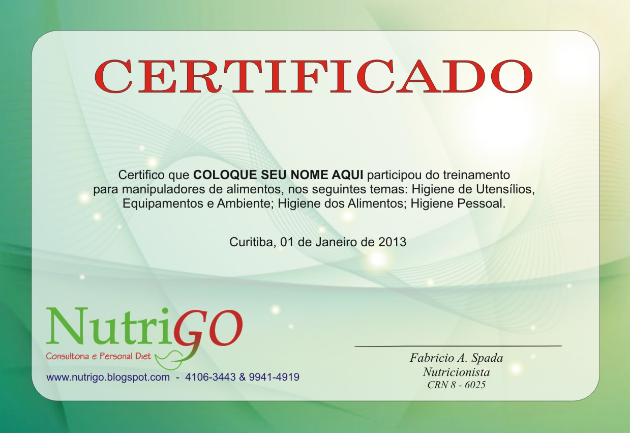 Nutrigo fevereiro 2013 - Certificado manipulador de alimentos gratis ...