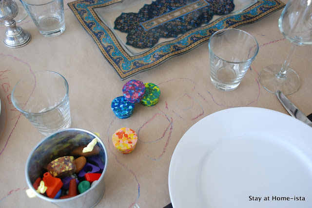 crayons and craft paper for easy table decor, fun for kids and adults!