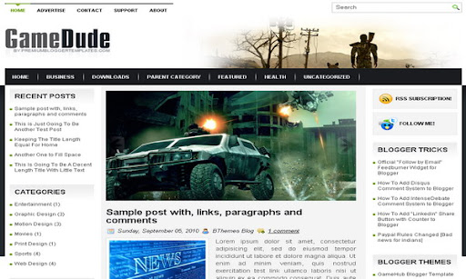GameDude Blogger Template