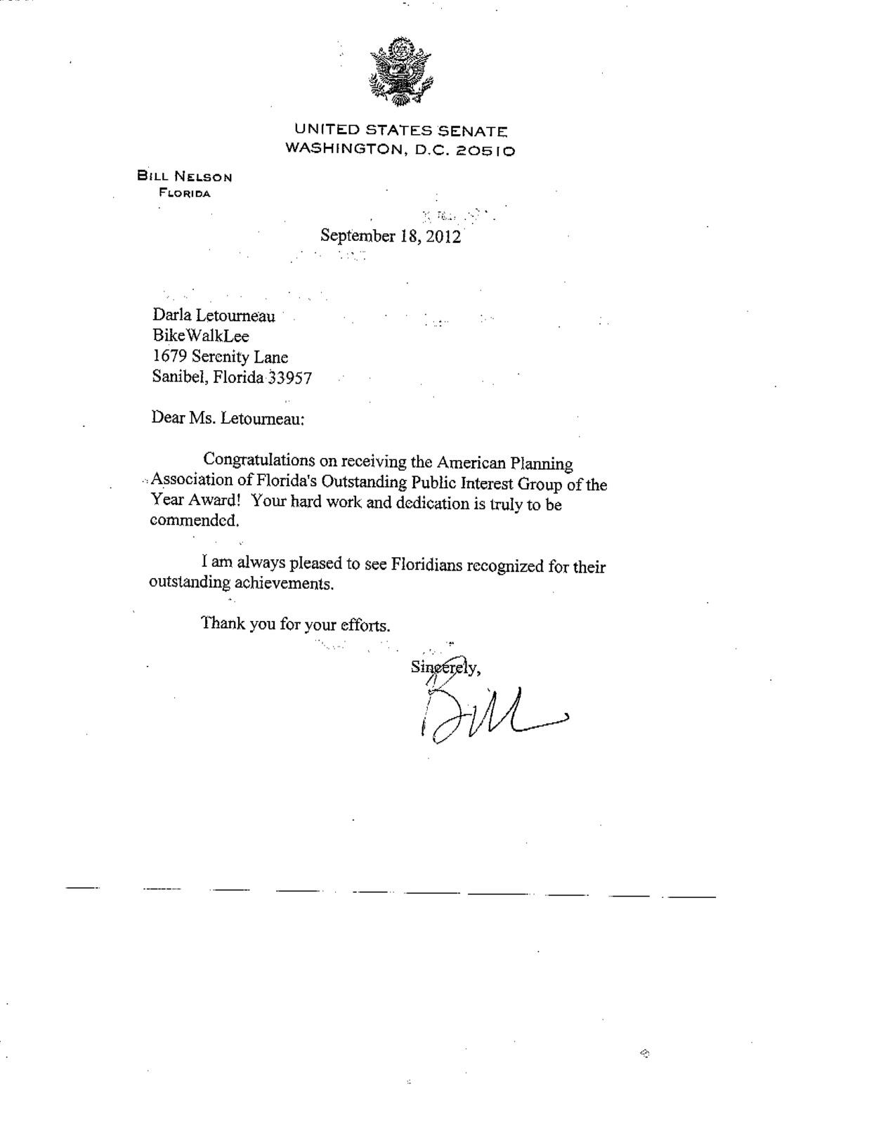 And Bikewalklee Received Congratulatory Letter From Senator Bill Nelson