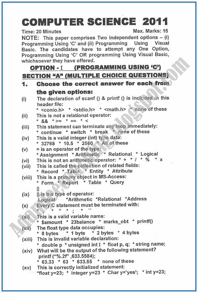 Computer-science-2011-past-year-paper-class-XII