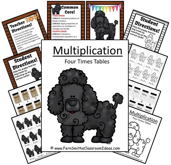 http://www.teacherspayteachers.com/Product/Quick-and-Easy-Center-and-Printables-Multiply-By-Four-Puppy-Themed-1241046