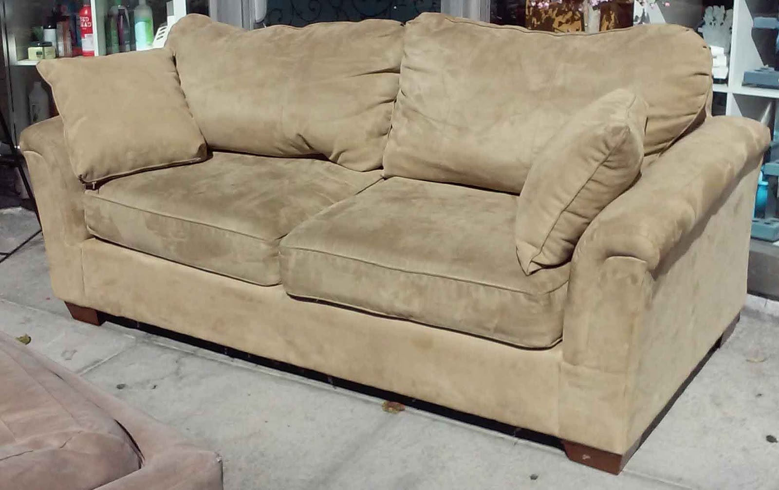 Uhuru Furniture Collectibles Sold Ashley Microsuede Khaki Sofa 130