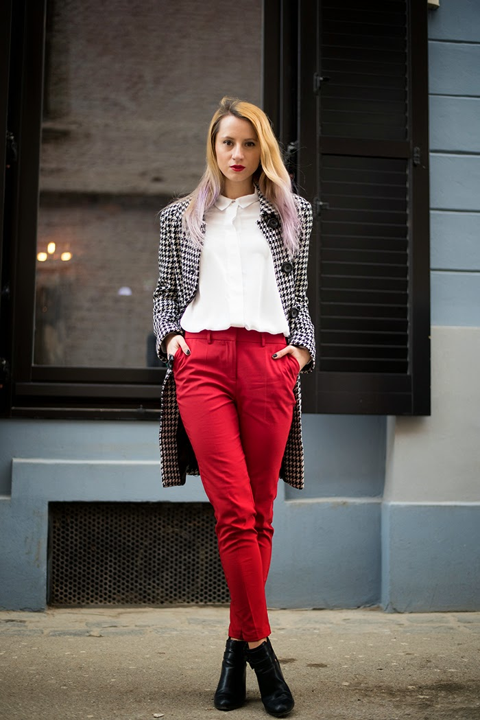 Skinny Buddha Poema red pants houndstooth coat