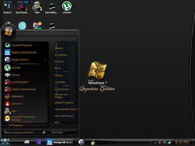 Signature Edition Reloaded theme for win 7  It has a golden visual style and a good start menu i have uploaded three versions of Signature Edition Reloaded Signature Edition Reloaded Original , Signature Edition Blue , Signature Edition Red And Read the Read Me for how to install