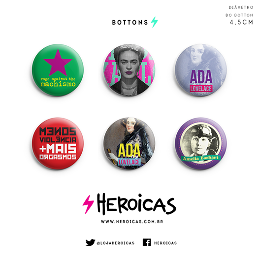 Novos produtos na loja Heroicas - bottons!
