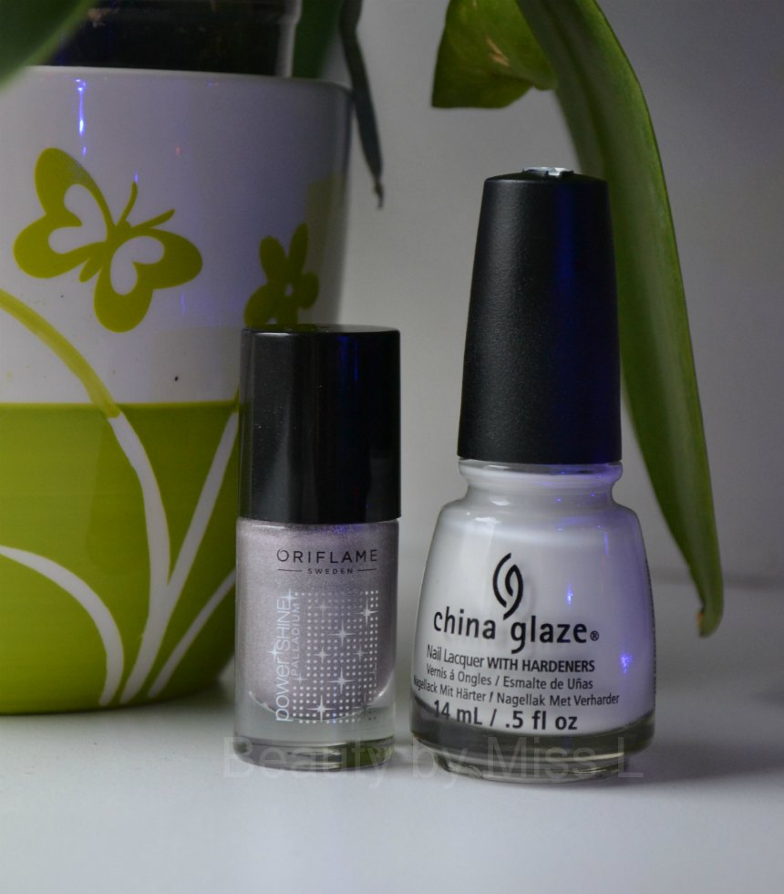 Oriflame Power Shine Palladium Reflecting Silver, China Glaze White on White