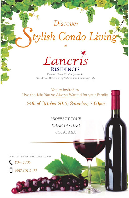 Wine Tasting Event on October 24th at the Lancris Residences