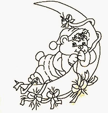 desenho de natal para pintar ursinho na lua