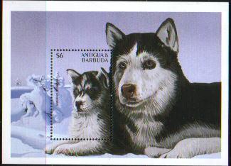 □1997年アンティグア・バーブーダ シベリアン・ハスキーの切手シート