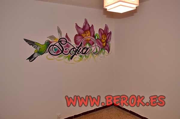 Mural tattoo para habitación con colibrí y flores