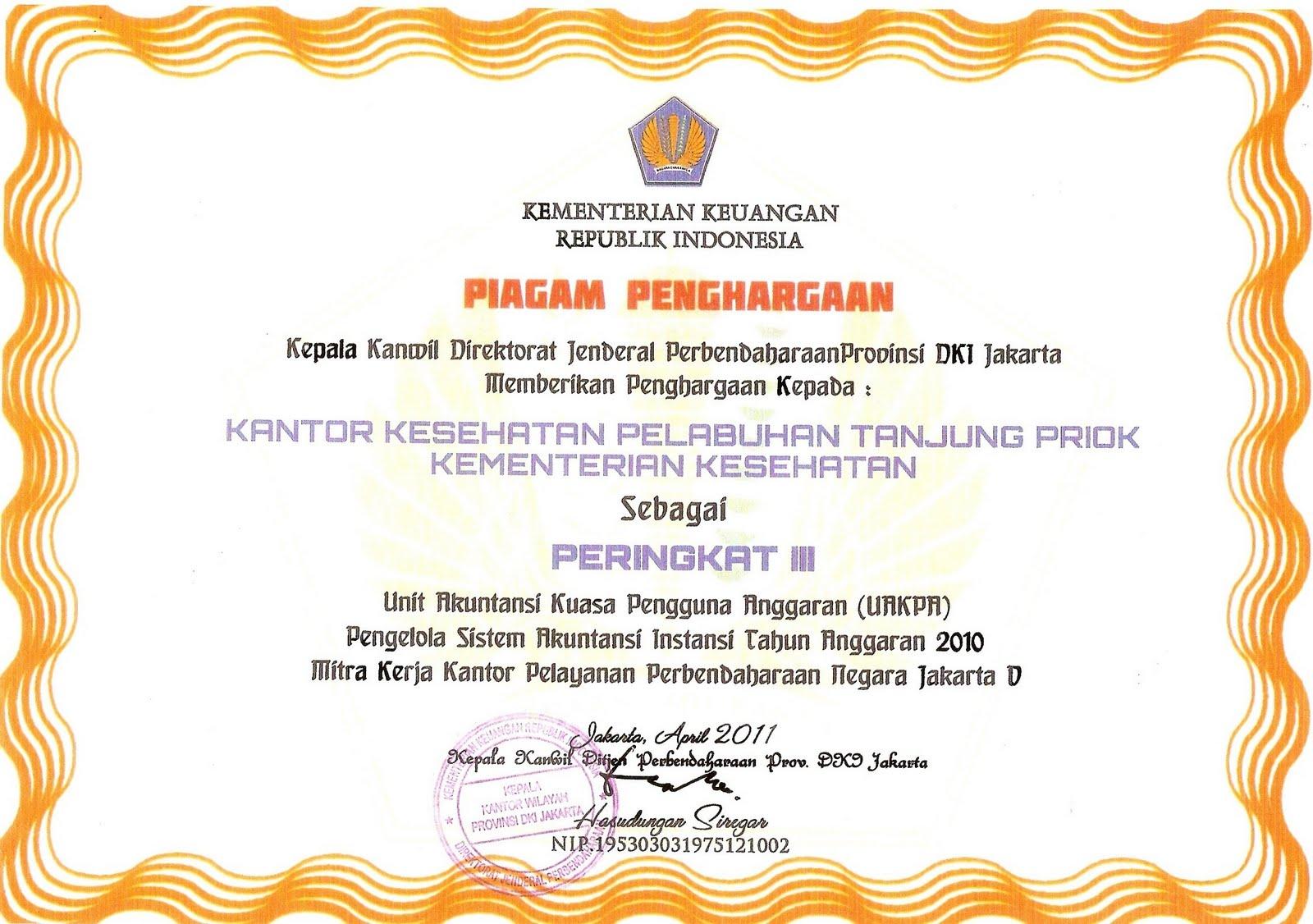 Contoh Sertifikat Penghargaan