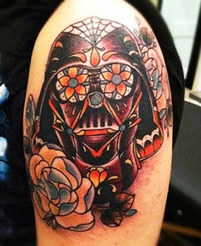 Tattoo do Darth Vader estilo caveira mexicana