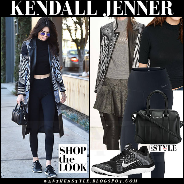 Kendall Jenner in black and white printed sass bide coat and black nike leggings nike flyknit sneakers what she wore streetstyle