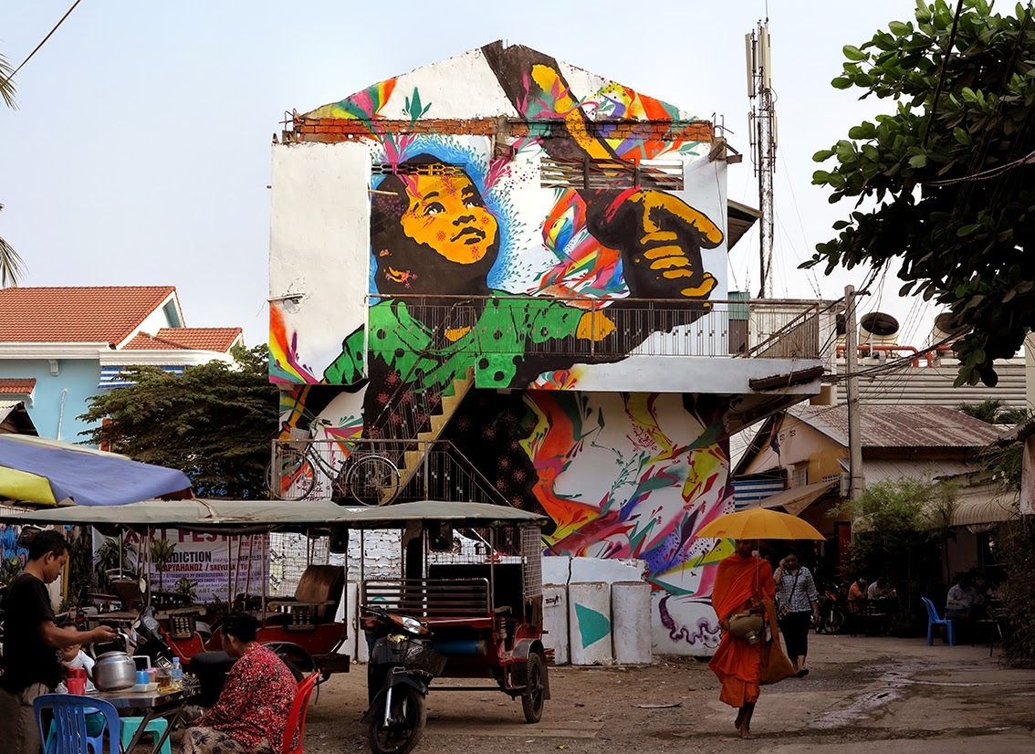 While we last heard from him a few days ago in Cancun, Stinkfish has now landed in Asia where he just finished working on a new mural in Cambodia.
