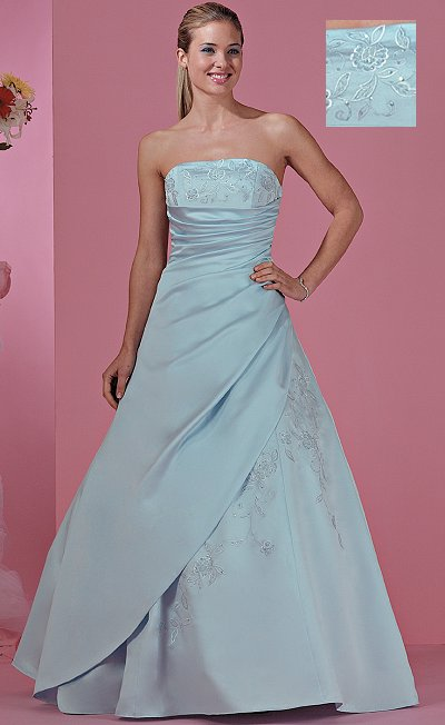 Big Blue Wedding Dresses Design With Ribbon and Pearl Beads