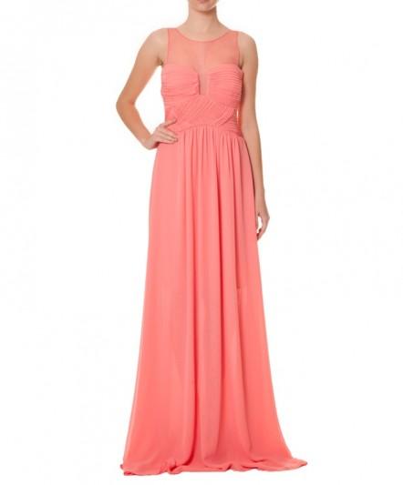 koyu pembe elbise, drape elbise, gece elbisesi, abiye uzun abiye, pemb abiye, yazlık abiye, abiye elbise, balo elbisesi