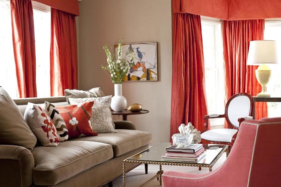 Red Curtains coral colored curtains : Bookmarked - Home Depot Center