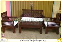 Set Kursi Tamu & Meja Set Ukiran Kayu Jati Minimalis Toraja dengan Jog