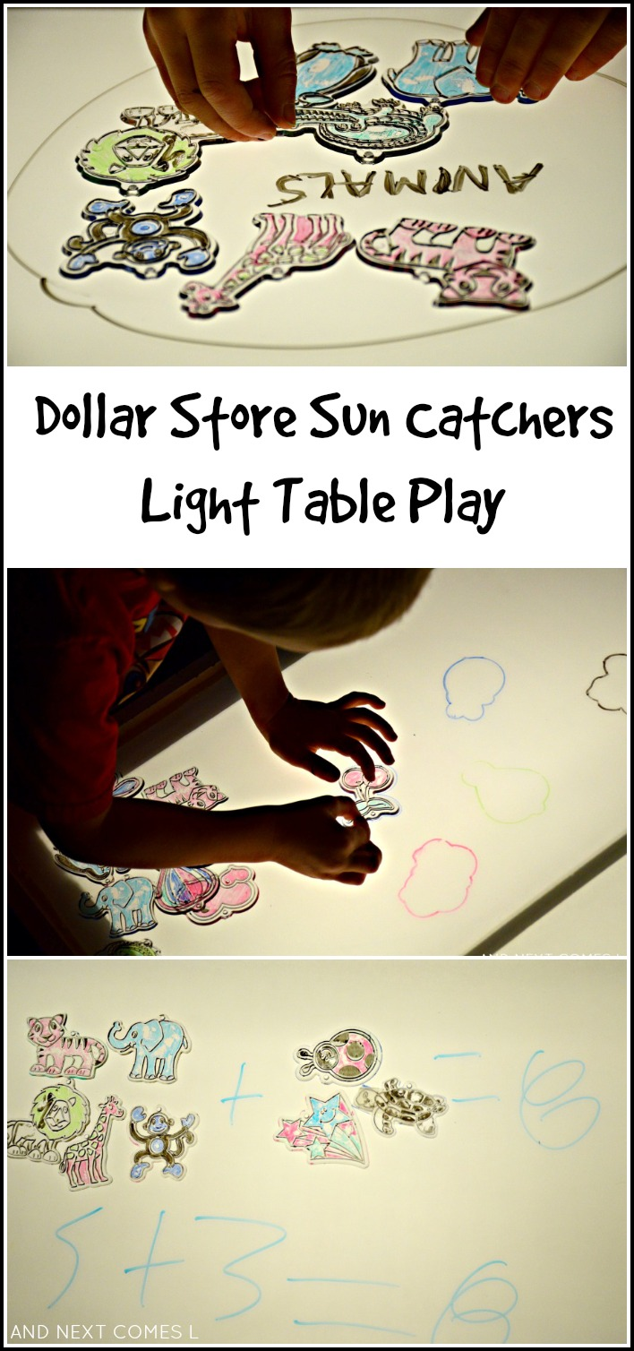 Using dollar store sun catchers and dry erase markers to explore math and literacy and work on fine motor skills from And Next Comes L
