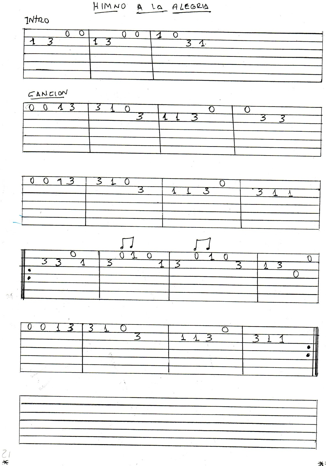 Guitarra clasica y ayacuchana partitura y tablatura del for Partituras guitarra clasica