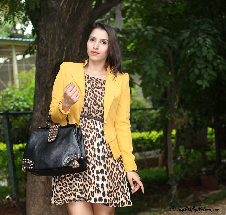 Yellow blazer leopard dress