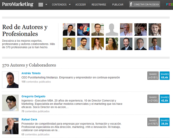Ranking de autores PuroMarketing