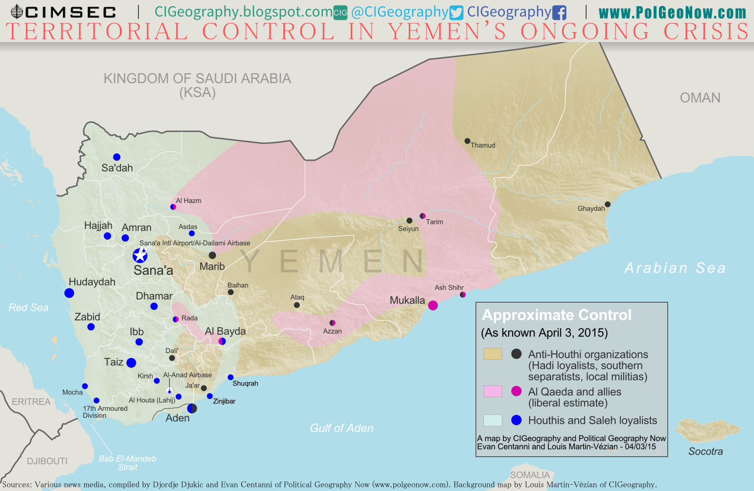 Map of territorial control in Yemen at the beginning of April 2015, at the time of Saudi Arabia's military intervention, including territory held by the Houthi rebels and former president Saleh's forces, president-in-exile Hadi and the Southern Movement, and Al Qaeda in the Arabian Peninsula (AQAP).