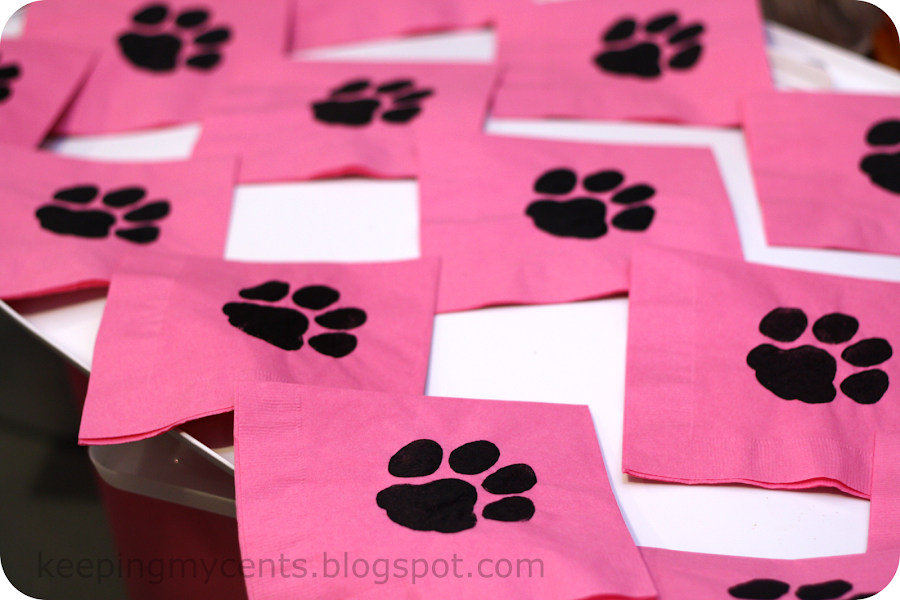 paw stamped napkins